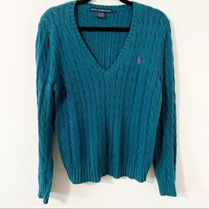 Ralph Lauren Sport V-neck Cable Knit PO Sweater